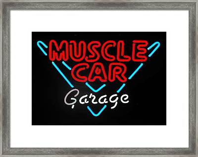 Neon Muscle Framed Print