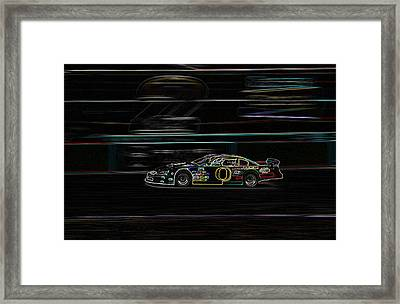 Framed Print featuring the photograph Neon Nascar by Tyra  OBryant
