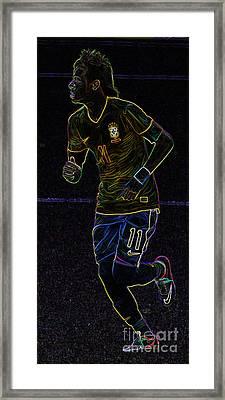 Neon Neymar II Framed Print by Lee Dos Santos