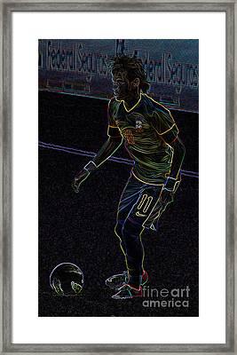 Neon Neymar Framed Print by Lee Dos Santos