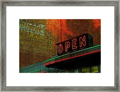 Neon Open Sign On Old Diner Hotel Framed Print by Matt Champlin
