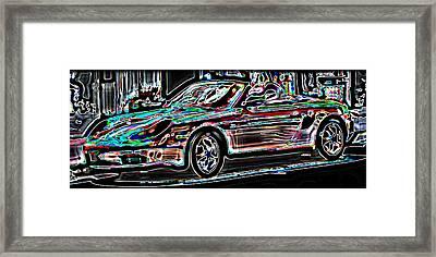 Neon Porsche Framed Print