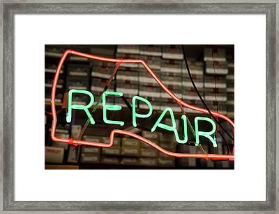 Neon Shoe Repair Sign Framed Print