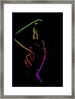 Neon Shower Girl Framed Print by Steve K