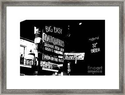 Neon Sign Bourbon Street Corner French Quarter New Orleans Black And White Conte Crayon Digital Art Framed Print
