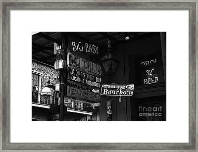 Neon Sign Bourbon Street Corner French Quarter New Orleans Black And White Poster Edges Digital Art Framed Print by Shawn O'Brien