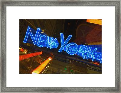 Neon Sign On A Police Station, New York City, New York State, Usa Framed Print by Glowimages