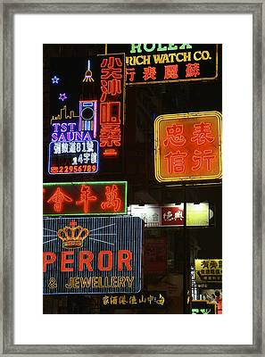Neon Signs On Nathan Road, Close Up Framed Print by Axiom Photographic