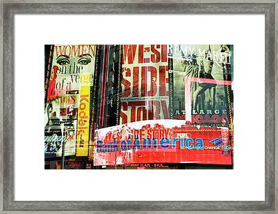 Neon Stories Of Times Square Framed Print by Travelif