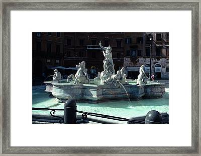 Framed Print featuring the photograph Neptunes Fountain Piazza Navona Rome by Tom Wurl