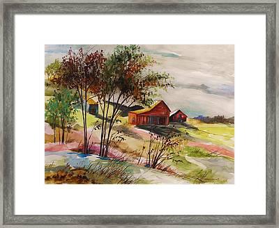 Nestled Nearby Barns Framed Print by John Williams
