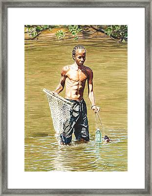 Netfishing Framed Print by Gregory Jules