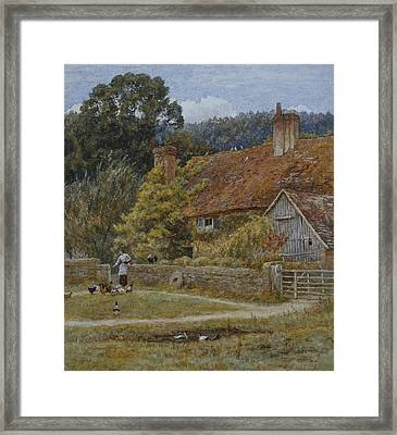 Netley Farm Shere Surrey Framed Print by Helen Allingham
