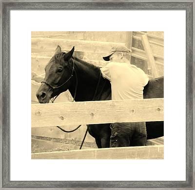 New Age Cowboy Framed Print by Virginia Lei Jimenez