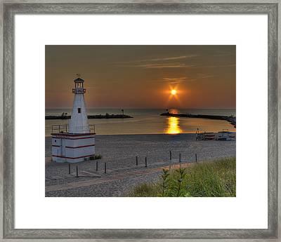 New Buffalo City Beach Sunset Framed Print