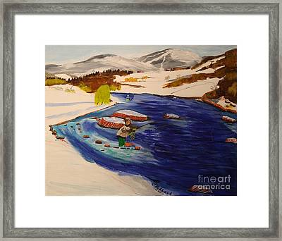 New Hampshire Springtime - Skiing And Trout Fishing In The White Mountains Framed Print by Bill Hubbard
