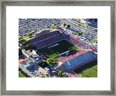 New Mexico Aerial View Of University Stadium Framed Print