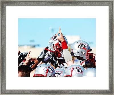 New Mexico Football Huddle Framed Print by University of New Mexico Athletics