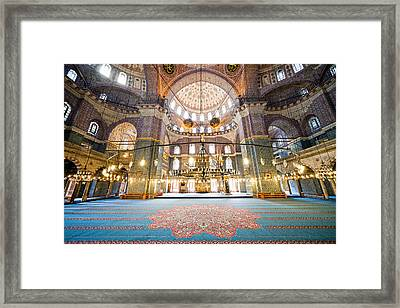 New Mosque Interior In Istanbul Framed Print by Artur Bogacki