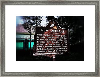 Framed Print featuring the photograph New Orleans History Marker by Jim Albritton