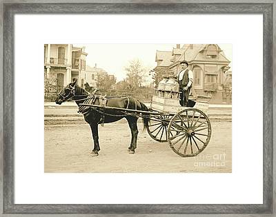 New Orleans Milk Cart 1905 Framed Print