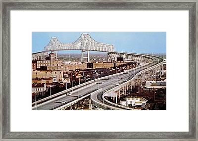 New Orleans, Mississippi River Bridge Framed Print by Everett