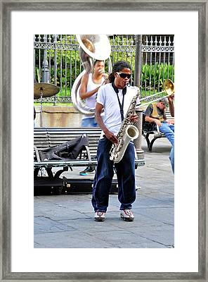 Framed Print featuring the photograph New Orlean's Musician by Helen Haw