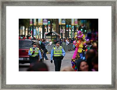 Framed Print featuring the photograph New Orleans Police At Mardi Gras by Jim Albritton