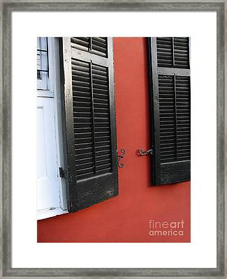 Framed Print featuring the photograph New Orleans Shutters by Jeanne  Woods