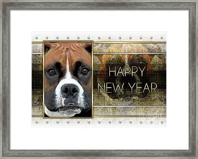New Year - Golden Elegance Boxer Framed Print by Renae Laughner
