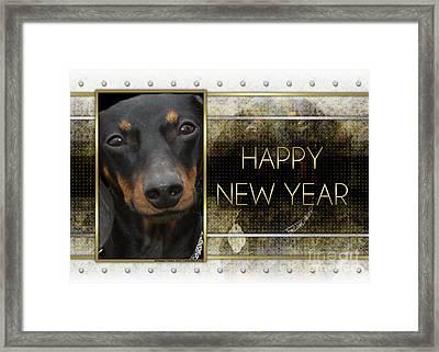 New Year - Golden Elegance Dachshund Framed Print by Renae Laughner