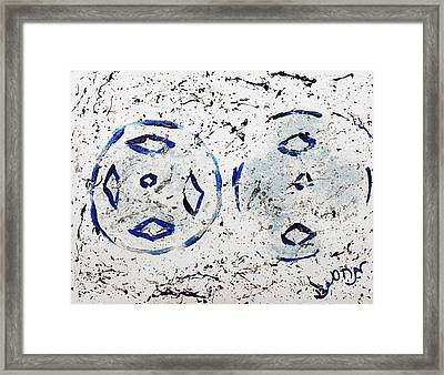 Framed Print featuring the painting New Year Rolls Around With Abstracted Splatters In Blue Silver White Representing Snow Excitement by M Zimmerman