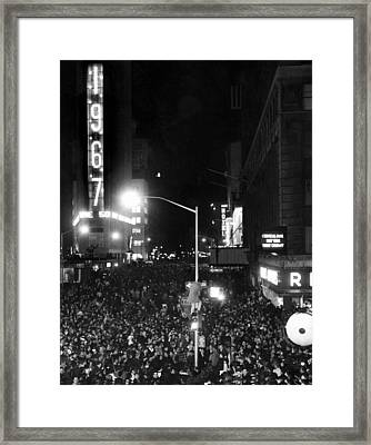 New Years Eve Celebration In Times Framed Print by Everett