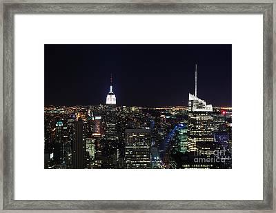 New York At Night Framed Print by Alan Clifford