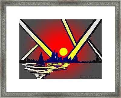 New York At Night Framed Print by Connie Valasco