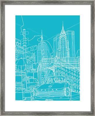 New York Blue Print Framed Print by David Bushell