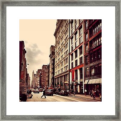 New York City - Cloudy Day On Broadway Framed Print