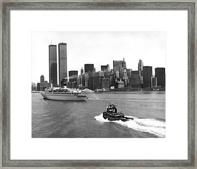 New York City Harbor Framed Print by Underwood Archives
