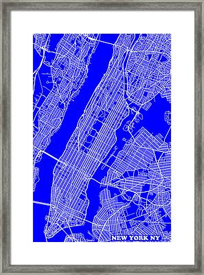 New York City Map Streets Art Print   Framed Print