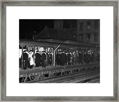 New York City Police Await The Arrival Framed Print by Everett
