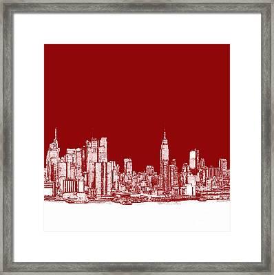 New York City Red Skyline  Framed Print by Building  Art