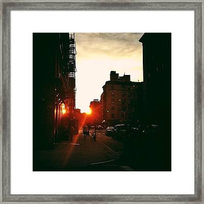 New York City Sunset Framed Print by Vivienne Gucwa