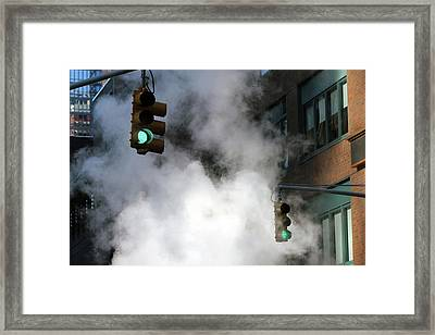 New York City Traffic Lights In Steam Framed Print