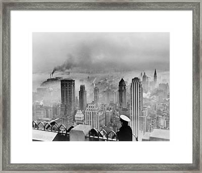New York City Under Smog When Weather Framed Print