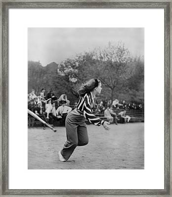 New York City, Woman Playing Softball Framed Print by Everett