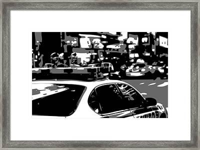 New York Cop Car Bw3 Framed Print