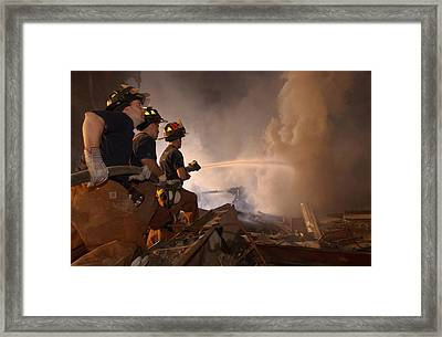 New York Firefighters Continue Framed Print by Everett