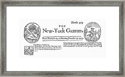 New York Gazette, 1733 Framed Print by Granger