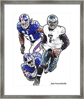 New York Giants Jason Piere-paul And Justin Tuck - Philadelphia Eagles Michael Vick Framed Print by Jack K