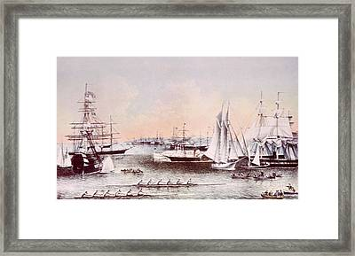 New York Harbor In Summer, Currier & Framed Print